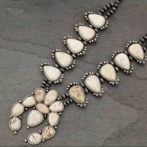 Ivory Squash Blossom Necklace With Natural Stones.
